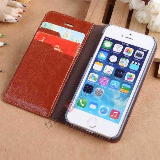 top quality Crazy Horse Texture Wallet Leather Stand Case For iPhone SE/5S/5 - Brown