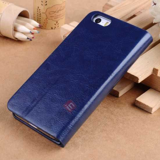 discount Crazy Horse Texture Wallet Leather Stand Case For iPhone SE/5S/5 - Dark blue