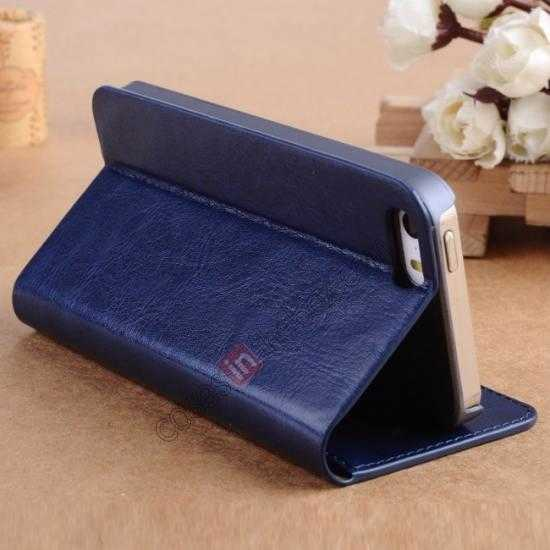 cheap Crazy Horse Texture Wallet Leather Stand Case For iPhone SE/5S/5 - Dark blue