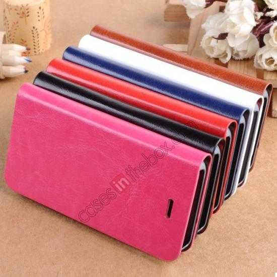 on sale Crazy Horse Texture Wallet Leather Stand Case For iPhone SE/5S/5 - Hot pink