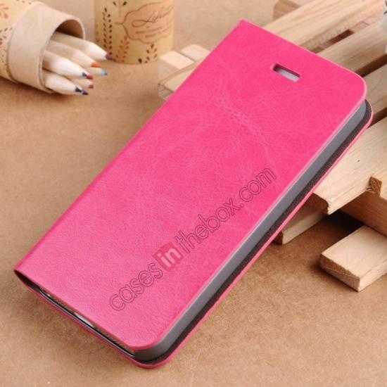 wholesale Crazy Horse Texture Wallet Leather Stand Case For iPhone SE/5S/5 - Hot pink
