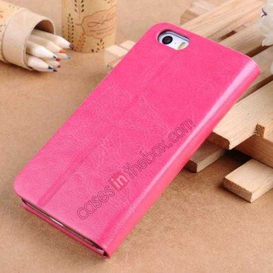 discount Crazy Horse Texture Wallet Leather Stand Case For iPhone SE/5S/5 - Hot pink