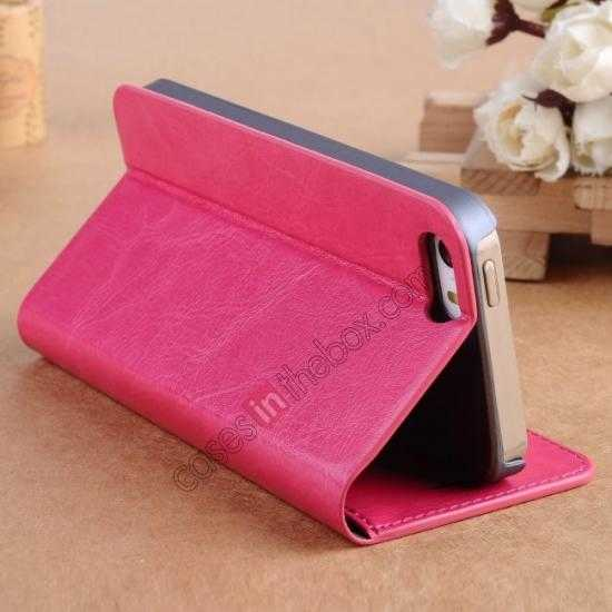 cheap Crazy Horse Texture Wallet Leather Stand Case For iPhone SE/5S/5 - Hot pink