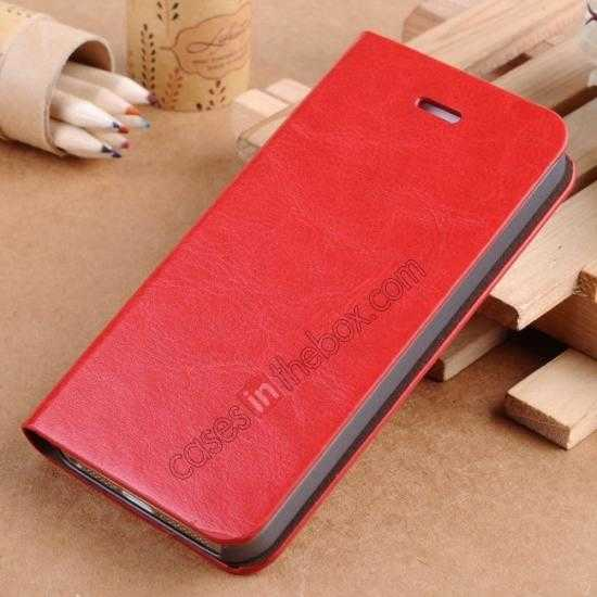 wholesale Crazy Horse Texture Wallet Leather Stand Case For iPhone SE/5S/5 - Red