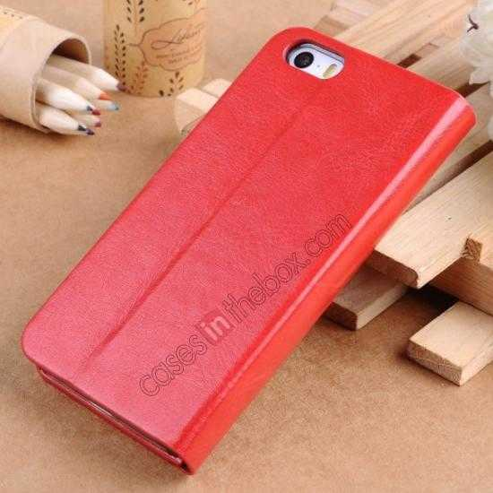discount Crazy Horse Texture Wallet Leather Stand Case For iPhone SE/5S/5 - Red