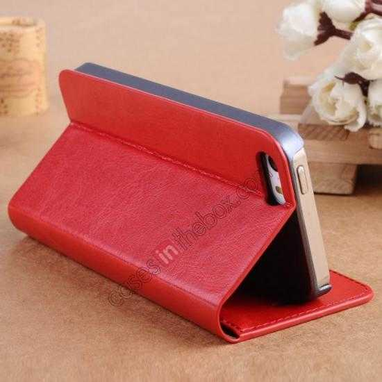 cheap Crazy Horse Texture Wallet Leather Stand Case For iPhone SE/5S/5 - Red