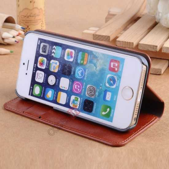 best price Crazy Horse Texture Wallet Leather Stand Case For iPhone SE/5S/5 - White