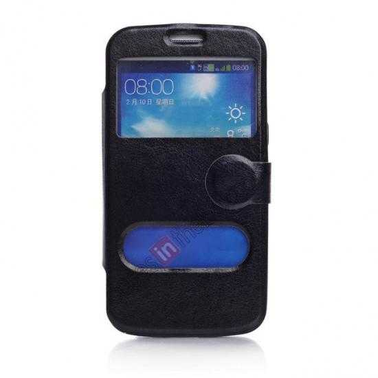 wholesale Crazy Horse Window View Leather Stand Case for Samsung Galaxy Grand 2 G7106 - Black