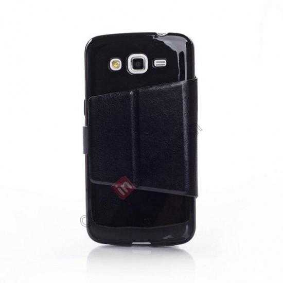 discount Crazy Horse Window View Leather Stand Case for Samsung Galaxy Grand 2 G7106 - Black