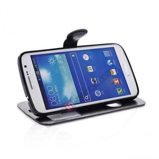 top quality Crazy Horse Window View Leather Stand Case for Samsung Galaxy Grand 2 G7106 - Black