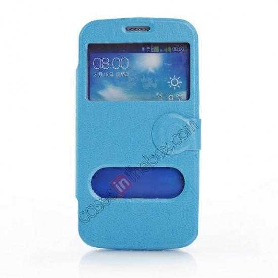 wholesale Crazy Horse Window View Leather Stand Case for Samsung Galaxy Grand 2 G7106 - Blue