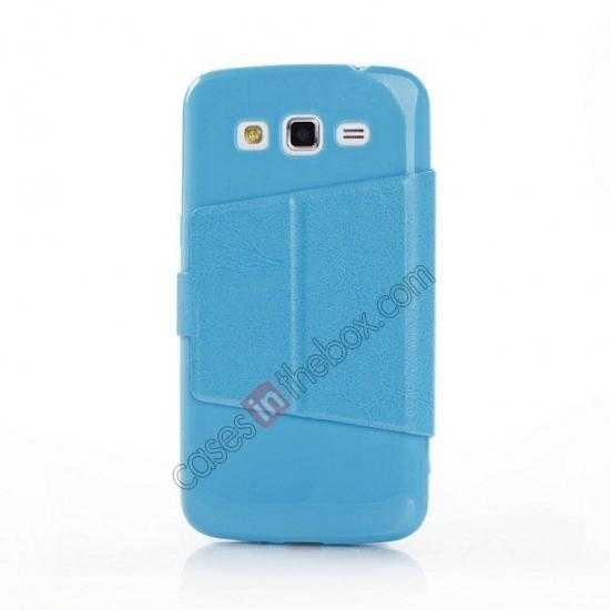 discount Crazy Horse Window View Leather Stand Case for Samsung Galaxy Grand 2 G7106 - Blue