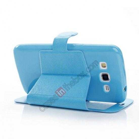 cheap Crazy Horse Window View Leather Stand Case for Samsung Galaxy Grand 2 G7106 - Blue