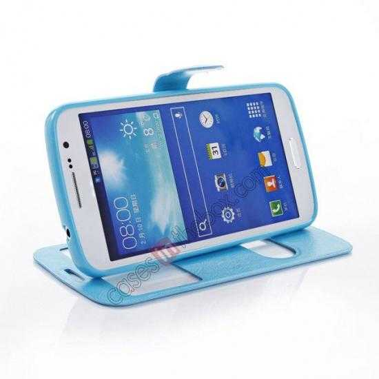 top quality Crazy Horse Window View Leather Stand Case for Samsung Galaxy Grand 2 G7106 - Blue