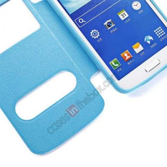 best price Crazy Horse Window View Leather Stand Case for Samsung Galaxy Grand 2 G7106 - Blue