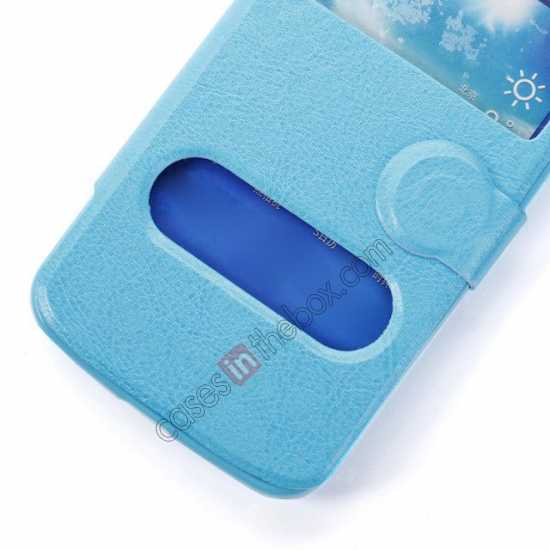 on sale Crazy Horse Window View Leather Stand Case for Samsung Galaxy Grand 2 G7106 - Blue
