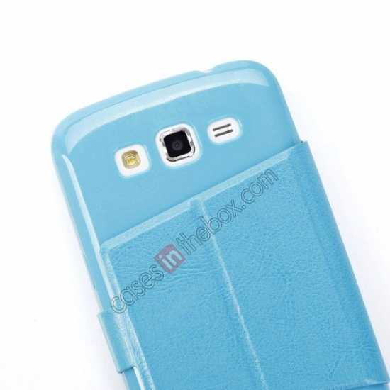 low price Crazy Horse Window View Leather Stand Case for Samsung Galaxy Grand 2 G7106 - Blue