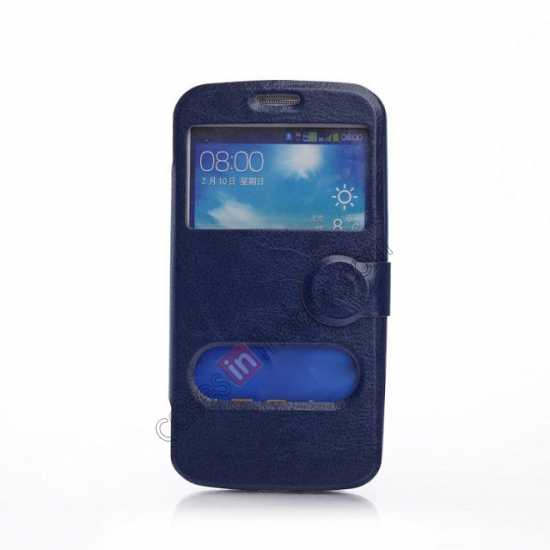 wholesale Crazy Horse Window View Leather Stand Case for Samsung Galaxy Grand 2 G7106 - Dark Blue