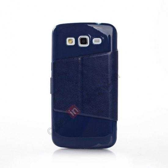 discount Crazy Horse Window View Leather Stand Case for Samsung Galaxy Grand 2 G7106 - Dark Blue
