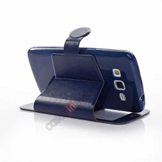 cheap Crazy Horse Window View Leather Stand Case for Samsung Galaxy Grand 2 G7106 - Dark Blue