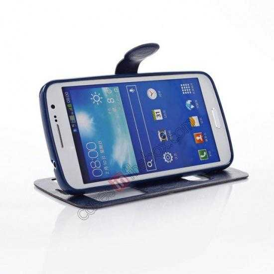 top quality Crazy Horse Window View Leather Stand Case for Samsung Galaxy Grand 2 G7106 - Dark Blue