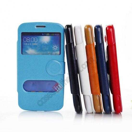 on sale Crazy Horse Window View Leather Stand Case for Samsung Galaxy Grand 2 G7106 - Dark Blue