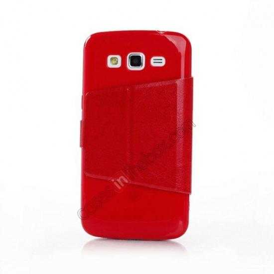 discount Crazy Horse Window View Leather Stand Case for Samsung Galaxy Grand 2 G7106 - Red
