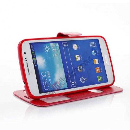 top quality Crazy Horse Window View Leather Stand Case for Samsung Galaxy Grand 2 G7106 - Red