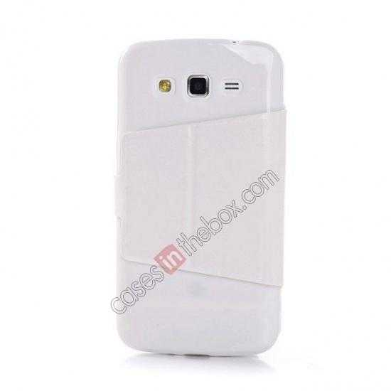 discount Crazy Horse Window View Leather Stand Case for Samsung Galaxy Grand 2 G7106 - White