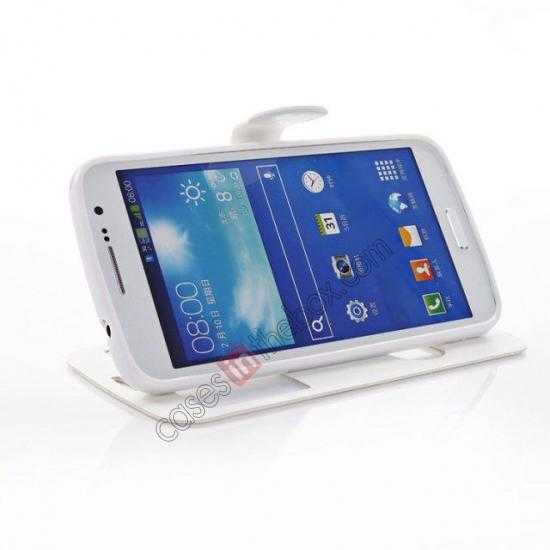 top quality Crazy Horse Window View Leather Stand Case for Samsung Galaxy Grand 2 G7106 - White