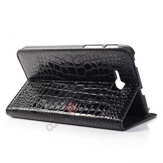 top quality Crocodile Pattern Flip Stand Ultraslim PC+Leather Case For Samsung Galaxy Tab 3 Lite 7 T110 - Black