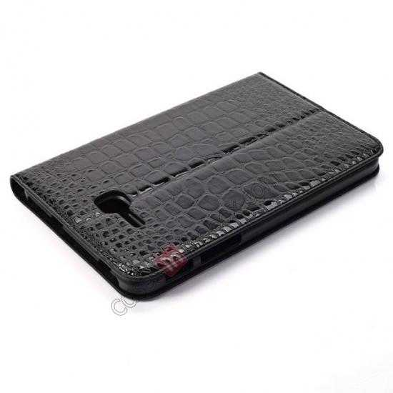best price Crocodile Pattern Flip Stand Ultraslim PC+Leather Case For Samsung Galaxy Tab 3 Lite 7 T110 - Black