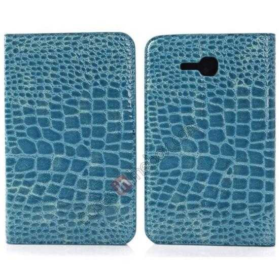 wholesale Crocodile Pattern Flip Stand Ultraslim PC+Leather Case For Samsung Galaxy Tab 3 Lite 7 T110 - Blue