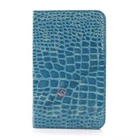 discount Crocodile Pattern Flip Stand Ultraslim PC+Leather Case For Samsung Galaxy Tab 3 Lite 7 T110 - Blue