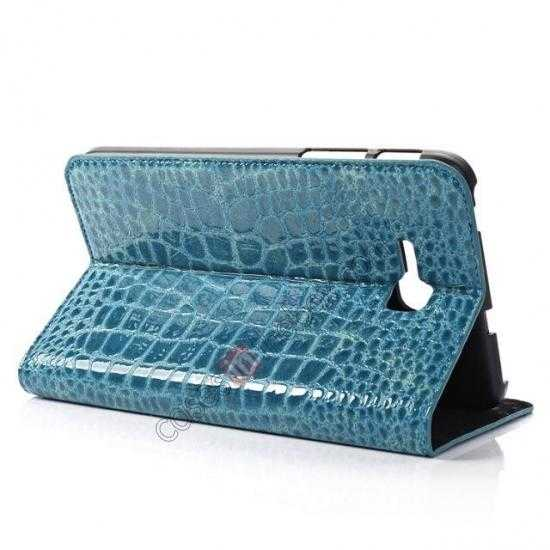 top quality Crocodile Pattern Flip Stand Ultraslim PC+Leather Case For Samsung Galaxy Tab 3 Lite 7 T110 - Blue