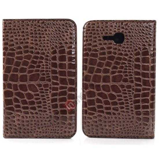wholesale Crocodile Pattern Flip Stand Ultraslim PC+Leather Case For Samsung Galaxy Tab 3 Lite 7 T110 - Brown
