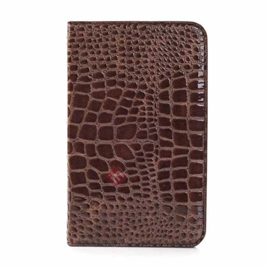 discount Crocodile Pattern Flip Stand Ultraslim PC+Leather Case For Samsung Galaxy Tab 3 Lite 7 T110 - Brown