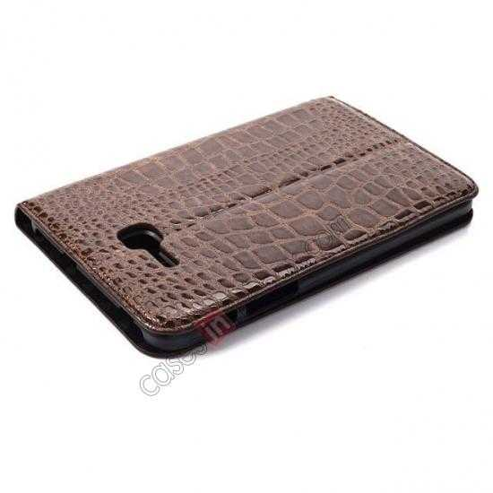 best price Crocodile Pattern Flip Stand Ultraslim PC+Leather Case For Samsung Galaxy Tab 3 Lite 7 T110 - Brown