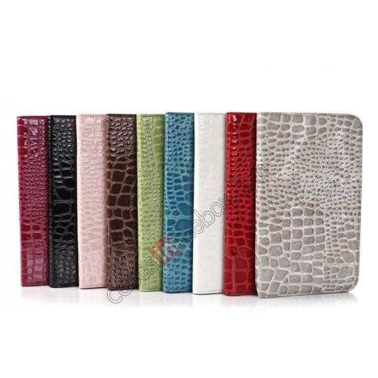 high quanlity Crocodile Pattern Flip Stand Ultraslim PC+Leather Case For Samsung Galaxy Tab 3 Lite 7 T110 - Brown