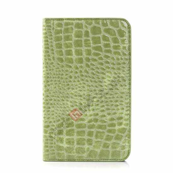 discount Crocodile Pattern Flip Stand Ultraslim PC+Leather Case For Samsung Galaxy Tab 3 Lite 7 T110 - Green