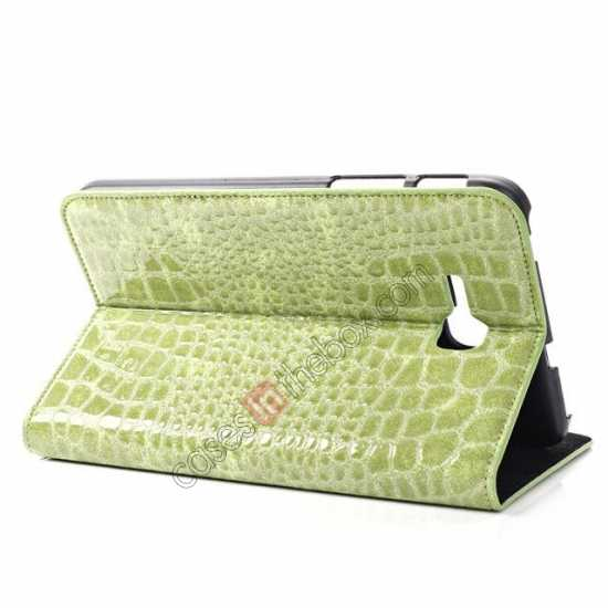 top quality Crocodile Pattern Flip Stand Ultraslim PC+Leather Case For Samsung Galaxy Tab 3 Lite 7 T110 - Green
