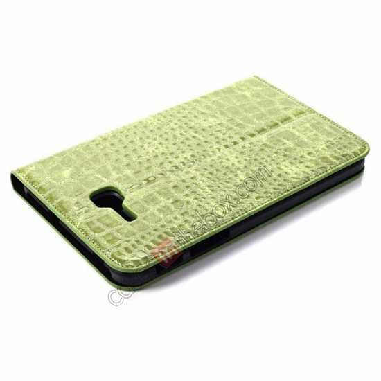 best price Crocodile Pattern Flip Stand Ultraslim PC+Leather Case For Samsung Galaxy Tab 3 Lite 7 T110 - Green
