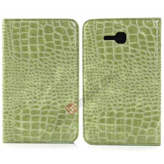 wholesale Crocodile Pattern Flip Stand Ultraslim PC+Leather Case For Samsung Galaxy Tab 3 Lite 7 T110 - Green