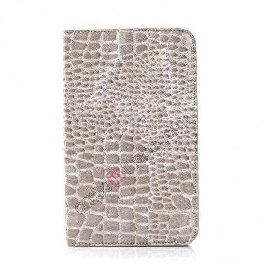 discount Crocodile Pattern Flip Stand Ultraslim PC+Leather Case For Samsung Galaxy Tab 3 Lite 7 T110 - Grey