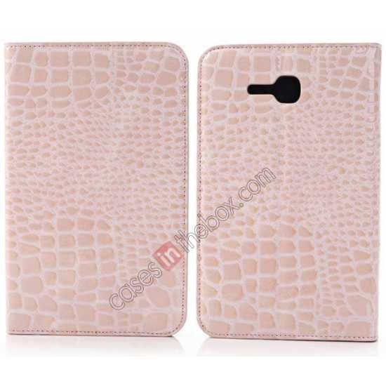 wholesale Crocodile Pattern Flip Stand Ultraslim PC+Leather Case For Samsung Galaxy Tab 3 Lite 7 T110 - Pink