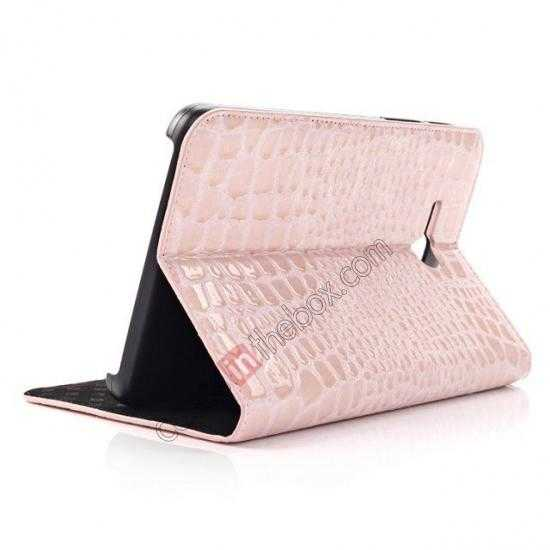 top quality Crocodile Pattern Flip Stand Ultraslim PC+Leather Case For Samsung Galaxy Tab 3 Lite 7 T110 - Pink