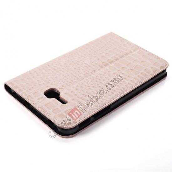 best price Crocodile Pattern Flip Stand Ultraslim PC+Leather Case For Samsung Galaxy Tab 3 Lite 7 T110 - Pink
