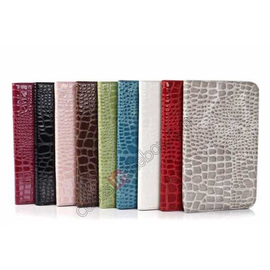 high quanlity Crocodile Pattern Flip Stand Ultraslim PC+Leather Case For Samsung Galaxy Tab 3 Lite 7 T110 - Pink