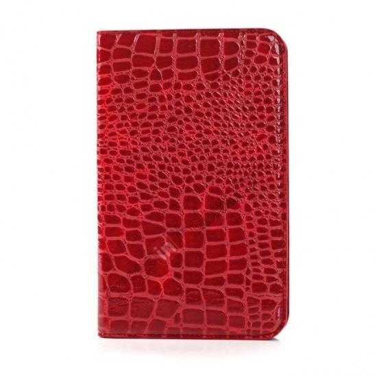 discount Crocodile Pattern Flip Stand Ultraslim PC+Leather Case For Samsung Galaxy Tab 3 Lite 7 T110 - Red