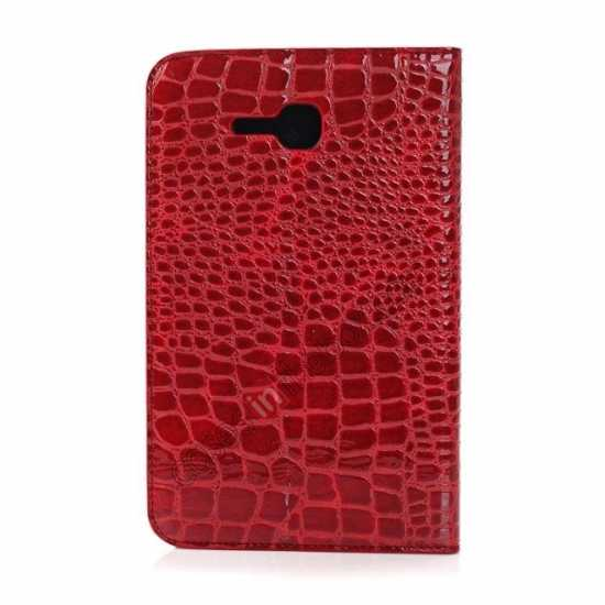 cheap Crocodile Pattern Flip Stand Ultraslim PC+Leather Case For Samsung Galaxy Tab 3 Lite 7 T110 - Red